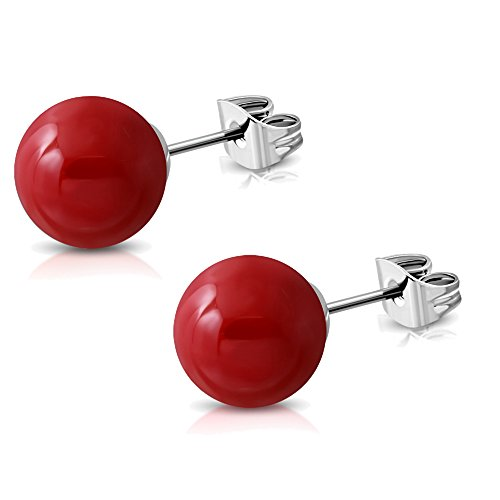 2 Paar Rote Kugel Ohrstecker Edelstahl Ohrringe 8mm Vintage Rockabilly Ohrschmuck für Damen und Jugendliche Mädchen