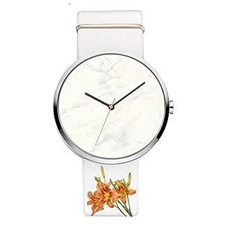 Godagoda-Damenuhr-Analog-Quarz-Elegant-Mode-Armbanduhr-Marmor-Zifferblatt-und-Leder-Armband