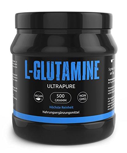 L-GLUTAMIN Ultrapure Pulver In Deutscher Premiumqualität Sehr Hochdosiert und 100% Rein – Perfekt für Bodybuilder I Vegan I Made In Germany I 500g I Gym Nutrition
