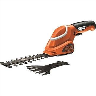 BlackDecker-Akku-Strauch-und-Grasschere-werkzeugloser-Klingenwechsel-7-V-Laufzeit-ca-50min-leichtes-Gewicht-inkl-Ladekabel-und-Ladestation-3-Stufen-Ladestandanzeige-schwarz-orange-GSL700
