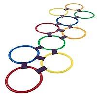 Feewerain-Hopscotch-Ring-Spiel-spielt-10-Mehrfarbige-Plastikringe-und-9-Steckverbinder-fr-Indoor-Outdoor-Fun-Creative-Spielset-fr-Mdchen-und-Jungen
