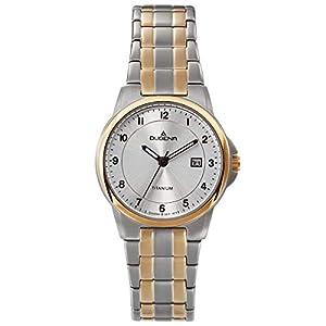 Dugena-Damenuhr-Titan-mit-Titan-Glieder-Armband-Datum-Bicolor