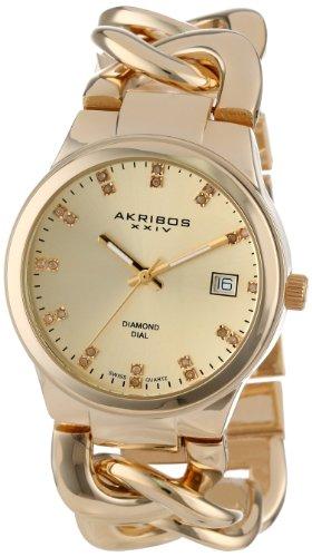Akribos-XXIV-Damen-Armbanduhr-Empire-mit-Analoganzeige-Quarzuhrwerk-und-Metall-Armband