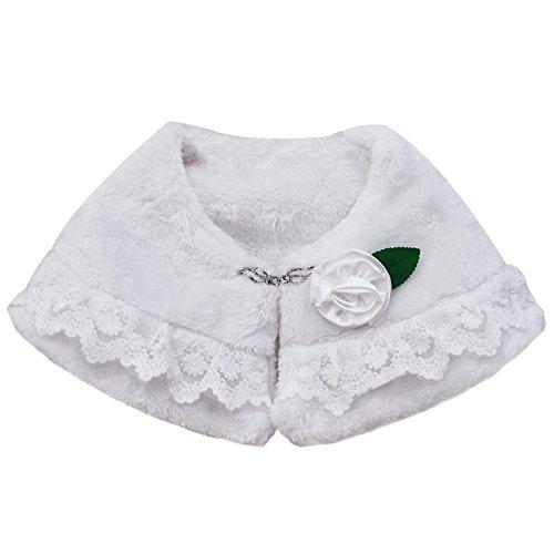Icegrey Kleine Mädchen Kunstpelz Schal Stola Umhang Pelerine Bolero Hochzeitsfest Verpackung mit Rhinestone Haken und Satin-Blume