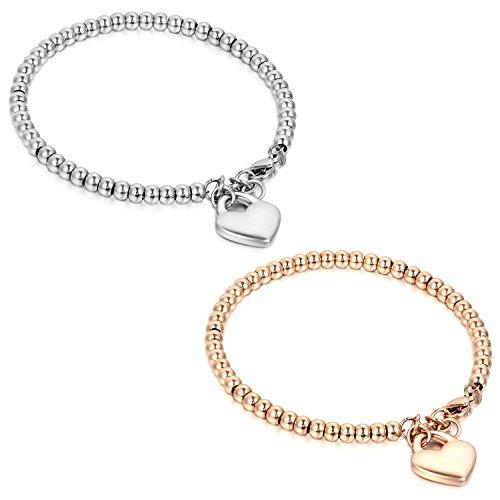 Flongo BFF Armband Armkette Freundschaftsketten Partnerarmbänder, 2 Stück Edelstahl Armreifen Silber Rose Gold Kugel Kette Perle Perlen Glückliche Katze Kätzchen Herz Herren,Damen Set