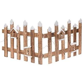 Deko-Holz-Zaun-mit-30-LED-100×40-cm-Mini-Gartenzaun-Winter-Gatter-beleuchtet