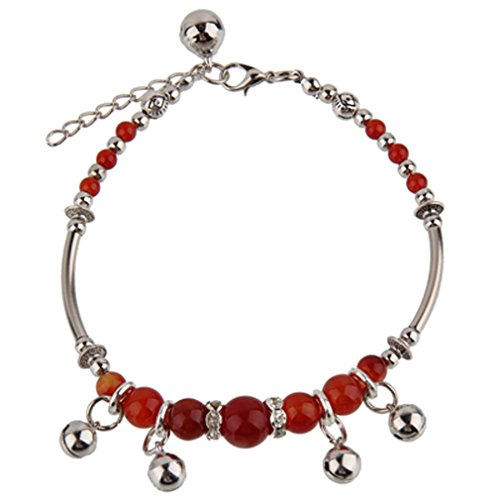 Handgefertigt von BodyTrend Fußkette, Glöckchen und Roter Achat Steinen