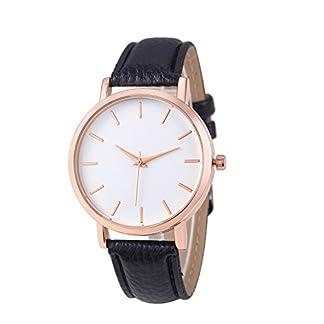 Lolamber-Damen-Uhr-Analog-Quarz-Einfach-Mode-Armbanduhr-Wei-Zifferblatt-und-Leder-Armband-fr-Frauen