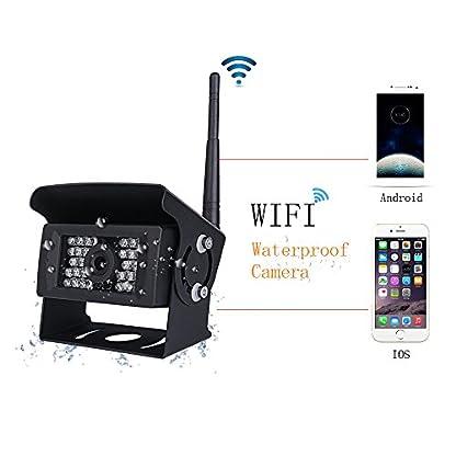 Podofo-Digital-Wifi-Rckfahrkamera-Wasserdichte-Nachtsicht-mit-Backup-Linie-Monitor-Kit-kompatibel-mit-iPhone-iPad-und-Android-fr-Trailer-RV-Trucks-Guide-Line-Optional
