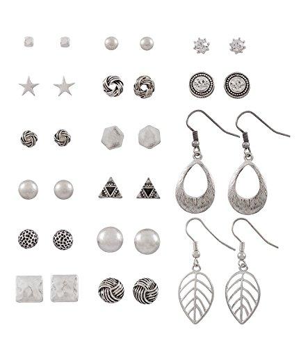 """SIX """"Basic"""" Damen Ohrring, Ohrstecker, Ohrhänger, earring silbernes Ohrring Set, 16 Stecker & Hänger, Sechseck, Stern, Knoten Weihnachtsgesc (429-511)"""