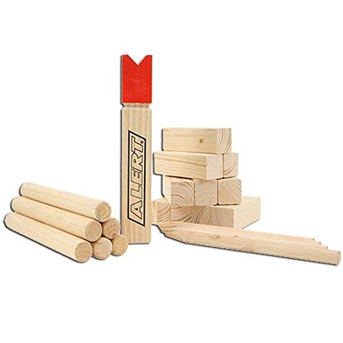 Alert-KUBB-ECHT-Holz-Wikinger-Spiel-Wurfspiel-22tlg-Neu