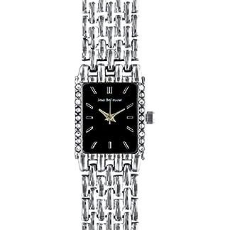 Jean-Bellecour–reds24-sb-Damen-Armbanduhr–Quarz-Analog–Zifferblatt-schwarz-Armband-Stahl-versilbert
