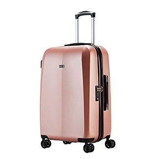 100-PC-Abistab-Kaiseki-Premium-Hartschalen-Koffer-Polycarbonat-Kratzfest-Trolley-Handgepck-Ryanair-Reisekoffer-4-DoppelrderTSA-SchlossRose-Gold-Pink-Gelb-Grau-Grey3-Gre4-Rollen-Set