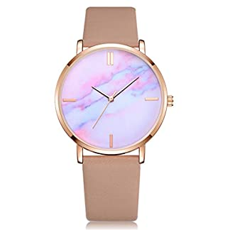 Sepbear-Damenuhr-Analog-Quarz-Armbanduhr-Luxus-Elegant-Mode-mit-Leder-Armband-und-Farbig-Zifferblatt