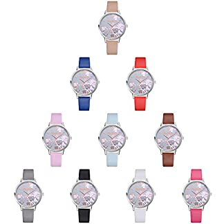Deloito-Damen-Mode-Silikon-Uhren-Blume-gedruckt-Kausal-Quarz-Analog-Runder-Fall-Handgelenk-Uhr