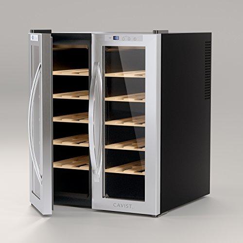 CAVIST-CAVIST24-Weinkhlschrank24-Flaschen70L-Kapazitt10-Regale-aus-Holz11C-bis-18Csilber