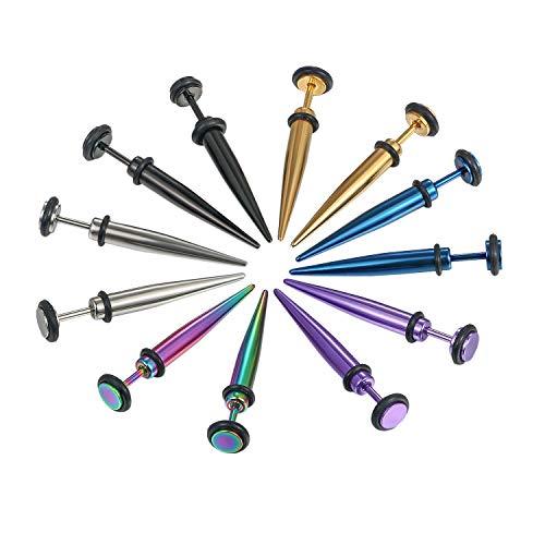 Aroncent 6 Paar Fake Plug Dehnstab Edelstahl Taper mit Gummi O-Ringe Fakeplugs Ohr Tunnel Piercing Ohrstecker Ohrringe Expander, Durchmesser 5mm/8mm/9mm, 6 Mischfarben