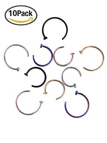 Edelstahl Nase Ring Hoop Nase Stud Körper Schmuck Piercing, 20 Gauge, 10 Stück