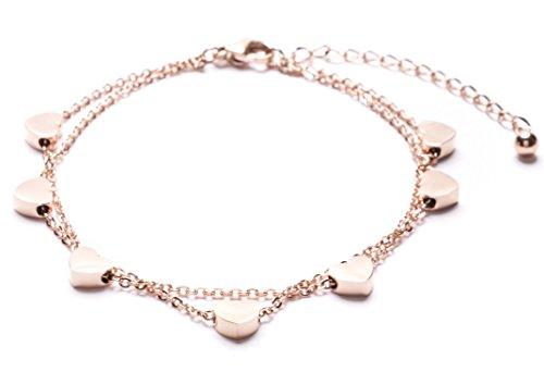 Happiness Boutique Damen Layered Armband mit Herz Anhängern in Rosegold | Hauchzarte Armkette aus Titan nickelfrei