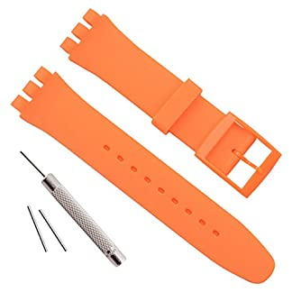 Wasserdicht-Silikon-Uhrenarmband-Uhr-Band-fr-Swatch-17-mm-19-mm-20-mm