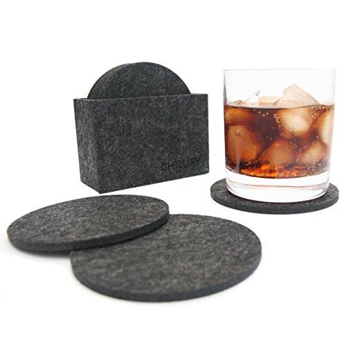 Glasuntersetzer aus Filz / Getränke-Untersetzer für Tassen, Tisch, Bar, Glas, Gläser / 8er Set mit Box rund dunkelgrau