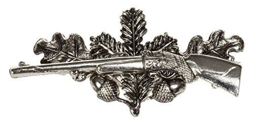 Schnabel-Schmuck Herren-Brosche Jagdabzeichen Gewehr mit Eichenlaub Messing – 001217/V178