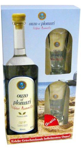 Ouzo-Plomari-07l-2x-Ouzo-Glas-im-Geschenkkarton