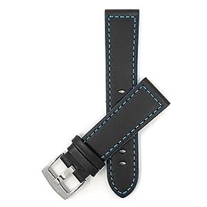 18mm-24mm-Leder-Uhrenarmband-Schliee-Edelstahl-Schwarz-Mit-Blauer-Schwarz-Mit-Rot-Orange-Grnen-Oder-Gelbe-Naht