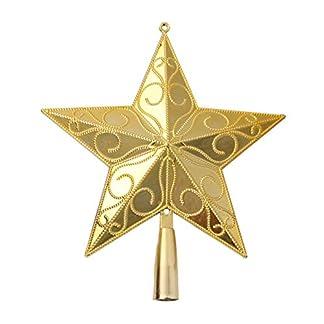 Leisial-Kunststoff-Weihnachtsbaum-Christbaumspitze-Weihnachten-Dekoration-Gold-Christbaumspitze-Stern-Weihnachtsbaum-Topper-20-17CM-L
