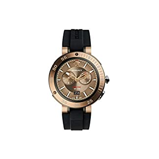 Versace-Herren-Chronograph-Quarz-Uhr-mit-Gummi-Armband-VCN030017