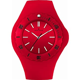 Alpha-Saphir-Unisex-Uhren-Quarz-Analog-362G-45-mm-rot