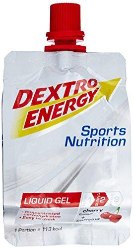 Dextro Energy Liquid Gel Cherry + Caffeine / Flüssiges kohlenhydratreiches Konzentrat-Gel mit Koffein für Ausdauer- & Leistungs-Sportler – leicht trinkbar / 18 Beutel (18 x 60ml)