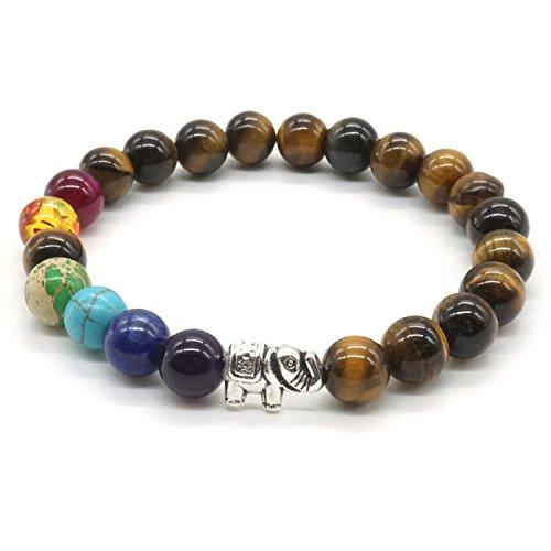7 Chakra Stein Armband Tigerauge Stein Natürliche Edelstein Zen-Buddhismus Armreif Runde Perlen Armband – Lucky Elephant