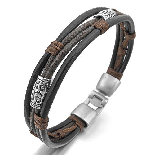 MunkiMix Metalllegierung Legierung Echtleder Armband Armreifen Seil Schwarz Silber Ton Braun Herren,Damen