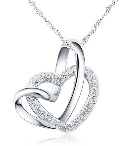 925 Sterling Silber Doppel liebe Herzen Halskette mit 45cm sterling Silber kette Schmuck
