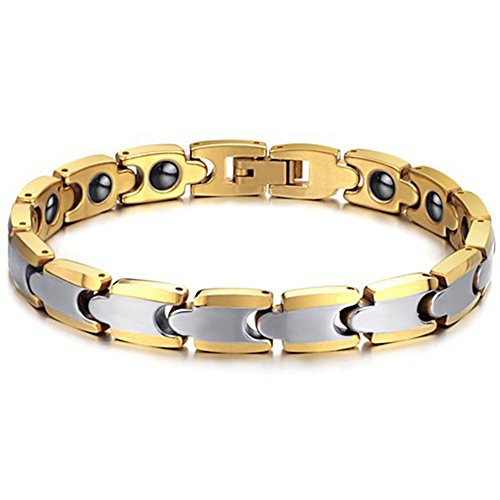 JewelryWe Schmuck Magnet Therapie Kugel Perle Perlen Wolframcarbid Wolfram Armband Link Handgelenk Kette Damen,Herren