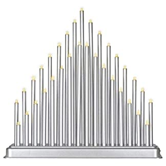 Stimmungsleuchte-silber-33-LED-warm-wei-Batterie-Timer-Dekoleuchte-Lichterbogen-Adventsleuchter-Weihnachtsbeleuchtung-Weihnachtsdeko-Xmas-Deko
