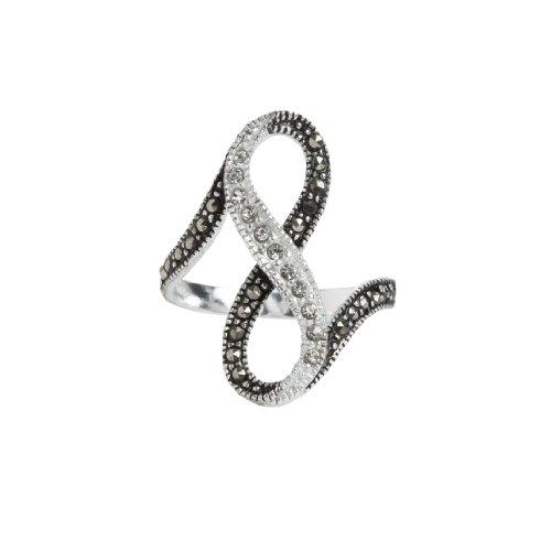 Eleganter Infinity Unendlichkeit Liebe Ring mit Markasit und Glitzersteinen, Sterling Silber