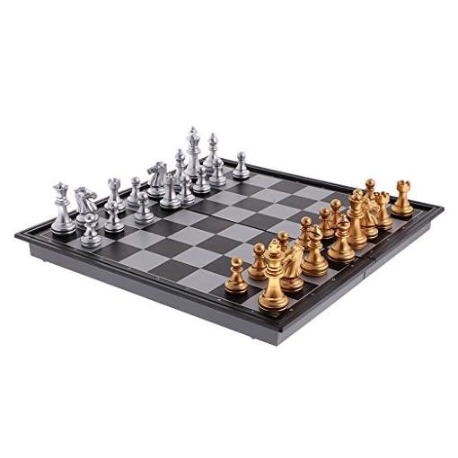 MagiDeal-Faltbar-Tragbar-Magnetische-Schach-Set-Magnetschach-Brettspiele-Reiseset-geeignet-fr-Reisen-Outdoor-Gold-Silber