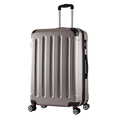 WOLTU-RK4203ch-Reise-Koffer-Trolley-Hartschale-Volumen-erweiterbar-Reisekoffer-Hartschalenkoffer-4-Rollen-MLXLSet-leicht-und-gnstig-Champagne-XL-76-cm-110-Liter