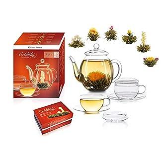 Erblh-Tee-Genieerset-Glas-Teekanne-05l-2-Tassen-6-Teeblumen