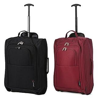 Set-von-2-Leichtgewicht-Handgepck-Kabinengepck-Flugtasche-Koffer-Trolley-Gepck