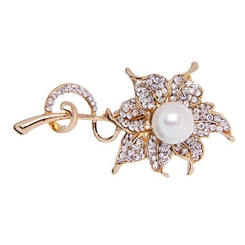 Damen Modeschmuck Brosche Anstecknadel Strass Perlen Pin Perlenbrosche Schmuck
