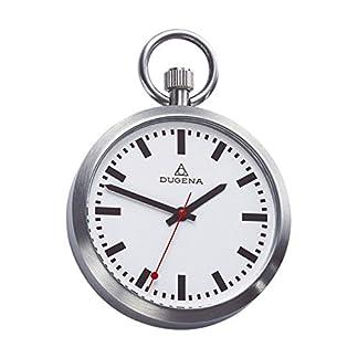 DUGENA-Taschenuhr-Schickes-Accessoire-fr-KULTIVIERTE-Herren-Satiniertes-Edelstahlgehuse-mit-flachem-Mineralglas-Inklusive-Kette–43-x-9-mm-C335314
