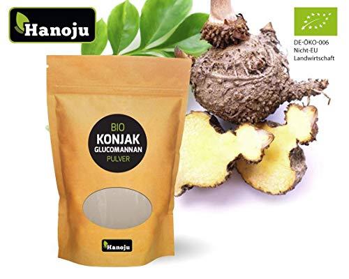 Hanoju Bio Konjakmehl Glucomannan Pulver, Konjakwurzel, Teufelszunge zum Abnehmen und Appetitzügler, in Deutschland abgefüllt und zertifiziert.
