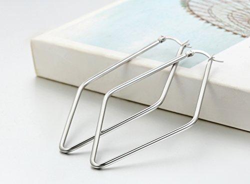JewelryWe Schmuck Damen Ohrringe, große Rhombus Creolen Ohrstecker, Edelstahl, Silber