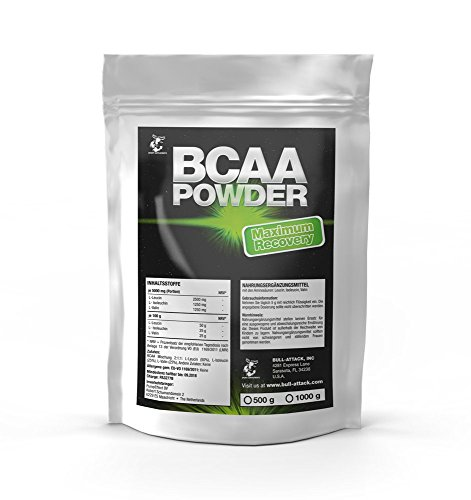 BCAA 500g Pulver – Big Pack XL | 100% Rein ohne Zusätze | L-Leucin + L-Isoleucin + L-Valin | Im Verhältnis 2:1:1 | Essentielle Aminosäuren | Antikatabol + Anabol | Muskelaufbau, Muskelschutz & Regeneration | Top Qualität made in Germany