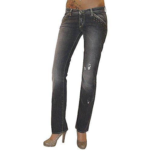 MET Design Damen Destroyed Jeans Jeanshose Hose gerades Bein grau used Nieten