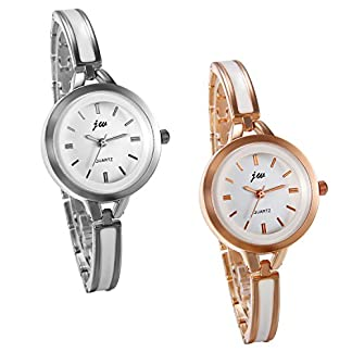JewelryWe-Damen-Armbanduhr-Analog-Quarz-Elegant-Charm-Uhr-Modisch-zeitloses-Design-mit-Legierung-Epoxy-Armband-Armreif-Farbe-Silber-Rose-Gold