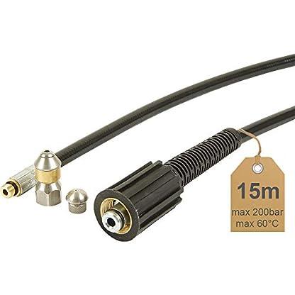 Rohrreinigungsschlauch-15m-200bar-60C-inkl-Dse-starr-Dse-rotierend-geeignet-fr-Hochdruckreiniger-von-McFilter